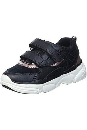 Geox J LUNARE Girl E Sneaker, (Black/Dk Rose)