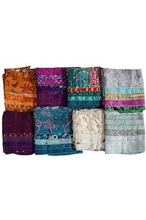 MANGO Damen Seide Sari Stoff Schals 5 Streifen Patti Trendy Stola