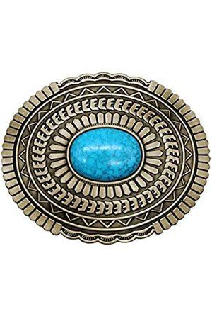 YOQUCOL Herren Gürtel - Vintage Indian Elements American Western Cowboy Türkis Gürtelschnalle für Herren - Braun