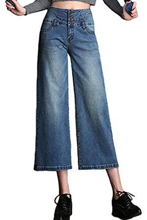 PHOENISING PHOENISING Damen High Waist Fashion Bottom 3/4 Cropped Jeans Stilvolle Weite Bein Hosen Größe 34-48 Gr. 46
