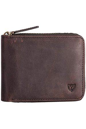 DONWORD RFID Herren Leder Zipper Brieftasche Zip um Brieftasche Bifold Multi Kartenhalter Geldbörse (Kaffee)