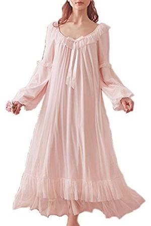 Singingqueen Damen Vintage viktorianisches Nachthemd Langarm durchscheinende Nachtwäsche Pyjama Nachtwäsche Lounge-Kleid - Pink - Small