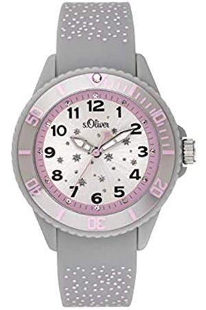 s.Oliver S.Oliver Mädchen Analog Quarz Uhr mit Silikon Armband SO-3923-PQ