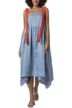 Apart APART Damen Leinenkleid mit Langen, Breiten, -farbenen Trägern