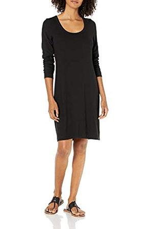 Daily Ritual Rayon Spandex Fine Rib Long-Sleeve Scoop Neck Dress Kleid