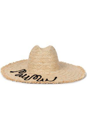 Miu Miu Bestickter Hut aus Raffiabast
