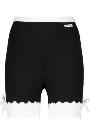 Miu Miu Shorts aus Jersey mit Spitze