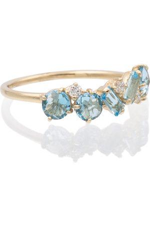 Suzanne Kalan Ring aus 14kt Gelbgold mit Diamanten und Topasen
