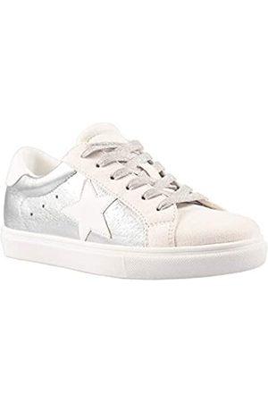 PARTY Party Damen Fashion Star Sneaker Schnürschuh Low Top Bequem Gepolsterte Wanderschuhe, Silber (Silver Met)