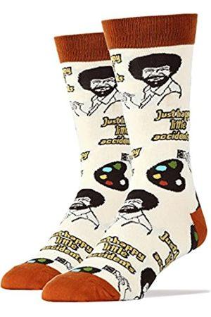 ooohyeah Herren Neuheit Crew Socken Bob Ross Funny Fun Crazy Silly Socken Cool Casual Dress Socks - - Large