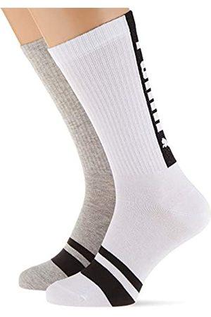 PUMA Mens Seasonal Logo Crew (2 pack) Casual Sock, white/grey