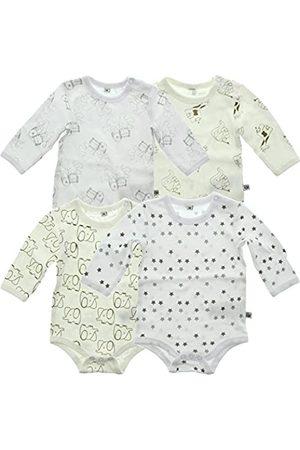 Pippi PIPPI Unisex Baby 4er Pack Aufdruck, Langarm Formender Body