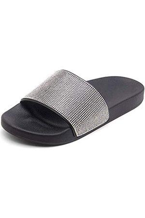 Herstyle Herstyle Cosmic Damen Pantoletten mit Strass, Glitzer, Sommerschuh, Plateau, Fußbett, Sandalen, Pantoffeln (schwarz)