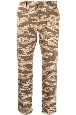 NILI LOTAN Camouflage print cropped trousers - Nude