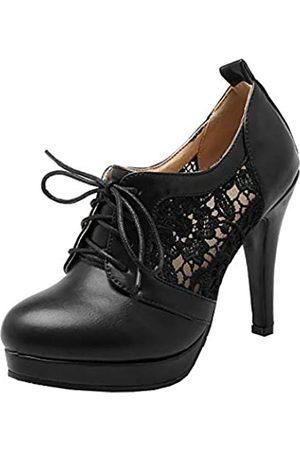 LUXMAX Damen Schnürstiefeletten mit hohem Absatz, Stiletto-Plateau-Stiefel