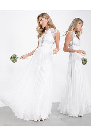 ASOS – Ruby – Hochzeitskleid mit plissiertem Rock und Oberteil mit feiner Spitze