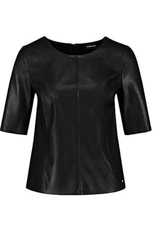 Taifun Damen Hemd in Leder-Optik figurumspielend Black 38