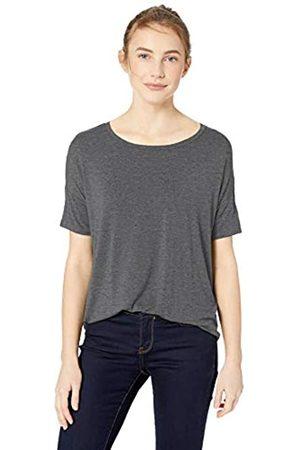 Daily Ritual Damen Jersey Rib Trim Drop-Shoulder Short-Sleeve Scoop Top T-Shirt, Charcoal Heather