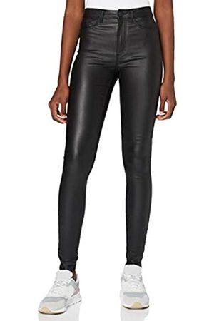 Noisy May Damen NMCALLIE HW SKINNY COATED PANTS NOOS Hose, Black