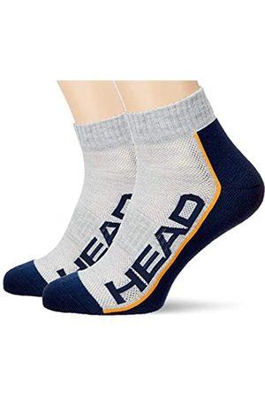 Head Unisex-Adult Performance Quarter (2 Pack) Tennis Socks, Grey/Navy