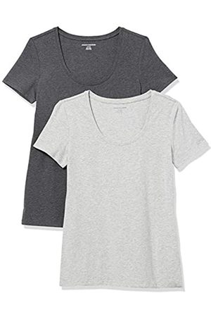 Amazon 2-Pack Classic-Fit Short-Sleeve Scoopneck fashion-t-shirts, Charcoal Heather/Light Grey Heather