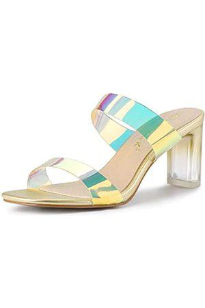 Allegra K Damen-Sandalen mit bunten Riemen, mit breitem Absatz