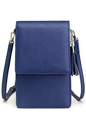 Valentoria Damen Umhängetasche Quaste Handy Geldbörse Kartenfach Geldbörse Handtasche (blau)