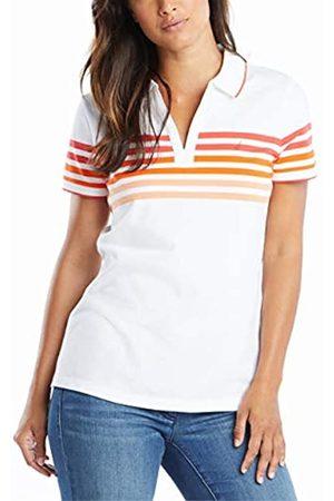 Nautica Damen Classic Fit Striped V-Neck Collar Stretch Cotton Polo Shirt Poloshirt