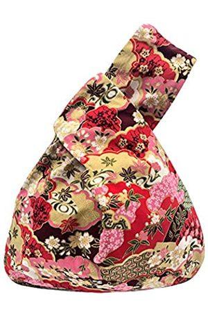 BAR BAR Bee Baumwolltasche mit japanischem Muster, Handgelenktasche mit Knoten, tragbare Geldbörse aus Segeltuch, Geschenk für Mädchen, Jungen, Ehefrau