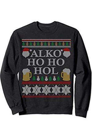 Alko ho ho hol Christmas hässlicher Sweater Motiv Weihnachtspullover Herren Lustig Geschenk Ugly X MAS Outfit Sweatshirt