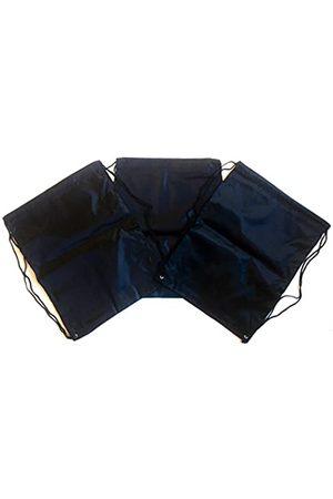 TheAwristocrat 3 Stück Nylon Kordelzug Rucksäcke Sackpack Tote Cinch Gym Bag – verschiedene Farben (Schwarz) - TA-DSB-BLK-R-CA