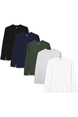 Lower East Lower East 5er Pack Herren Langarmshirt mit Rundhals-Ausschnitt, in verschiedenen Farben 5er Pack