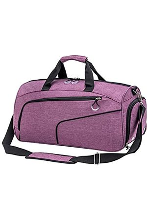 Kuston Kuston Sport Turnbeutel mit Schuhfach & Nasstasche Gym Duffel Bag Übernachtung Tasche für Damen und Herren (Violett) - 18