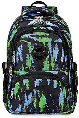 Gywon Schulrucksäcke Stilvolle Schultertasche Student Bookbags Leichte Reise Daypack Fashion Floral mit 14 Zoll Laptop Sleeve (Grün) - 15000025-2