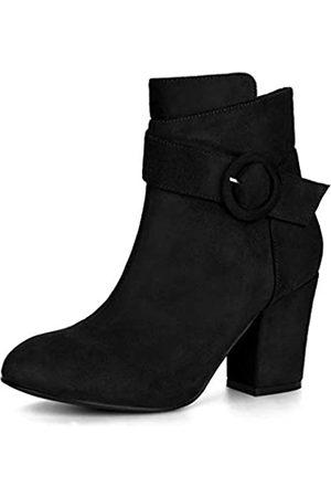 Allegra K Damen Blockabsatz Buckle Ankle Boots Stiefel 36