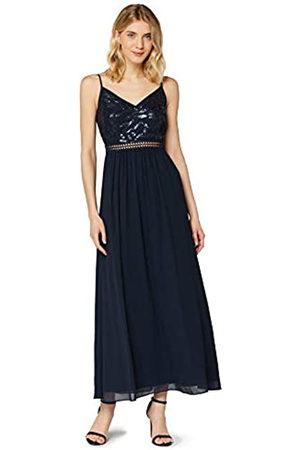 TRUTH & FABLE Amazon-Marke: Damen Maxikleid aus Chiffon, (Marineblau mit Pailletten/Perlen), 38