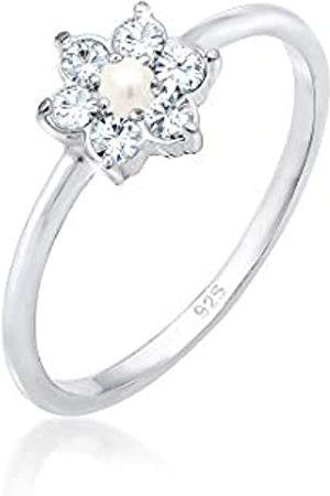 Elli Elli PREMIUM Ring Elli Damen PREMIUM Ring Blume Floral Perle Swarovski Kristalle in 925 Sterling