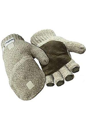 RefrigiWear Thinsulate-Handschuhe aus Ragg-Wolle, fingerlos, mit Wildleder-Handfläche (Braun