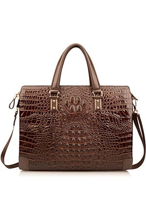 Ainifeel Ainifeel Herren-Aktentasche aus echtem Leder mit Krokodilprägung, 36,7 cm (14,5 Zoll) Laptoptasche, formelle Handtaschen
