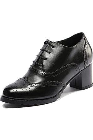 U-lite U-lite Damen Oxford-Schuhe, perforiert, Flügelspitze, Leder (schwarz)