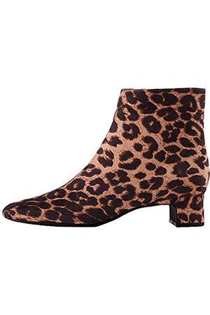 FIND Block Heel Square Toe Stiefeletten, Brown Leopard)