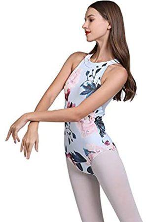 Limiles Dance Limiles Damen Neckholder Bodysuit Schlüsselloch Rücken Gymnastik Ballett Tanzanzug Tops Dancewear Kostüme (Blaue Blume