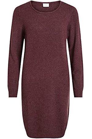 VILA Damen Freizeitkleider - Damen Viril L/S Knit Dress - Noos Kleid, Winetasting