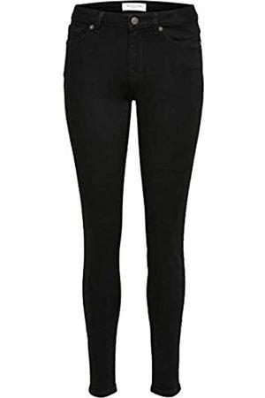 SELECTED Damen Slfida Mw Black W Noos Skinny Jeans, Black Denim