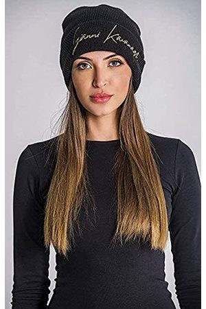 Gianni Kavanagh Gianni Kavanagh Damen Black Beanie with Gold GK Signature Logo Winter-Hut