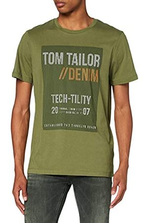 TOM TAILOR TOM TAILOR Denim Herren Langarm Print T-Shirt, 11279-Dry Greyish Olive