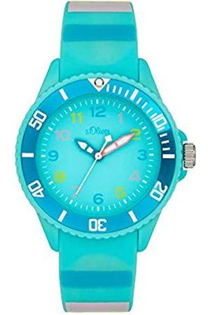 s.Oliver S.Oliver Mädchen Analog Quarz Uhr mit Silicone Armband SO-4004-PQ