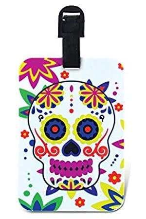 Puzzled Puzzled Tag der Toten Gepäckanhänger – Einzigartige Sugar Skull Neuheit Reiseanhänger für Gepäck, Dia De Los Muertos Reiseausweis für Koffer