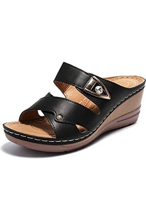 ALEXIS Damen-Sandalen mit offenem Zehenbereich, Kreuzgurt, Schlupfkeil