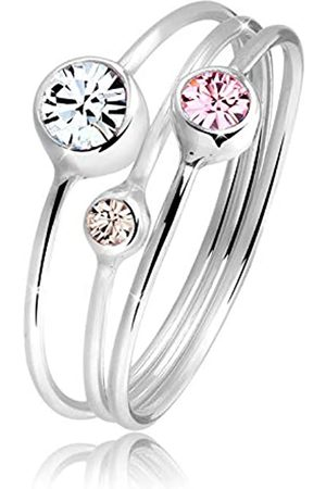 Elli Elli Ring Damen Stapelring Set mit Swarovski Kristallen in 925 Sterling Silber